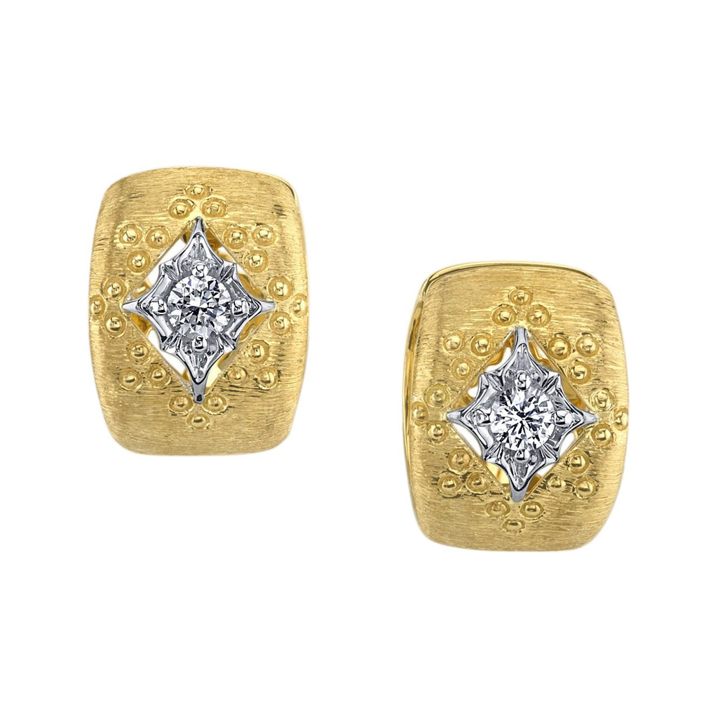 Sarosi By timeless Gems - Brushed Gold Diamond Cuff Earring
