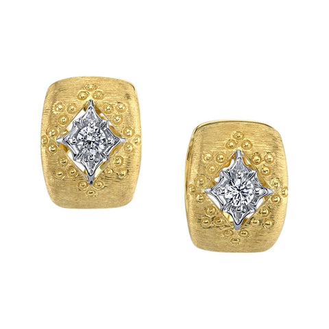 Brushed Gold Diamond Cuff Earring