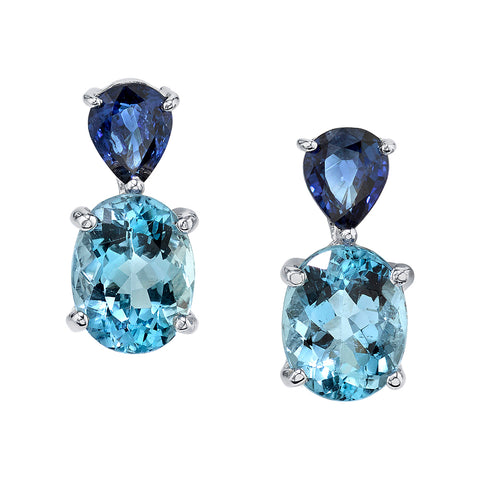Sarosi By Timeless Gems - Aquamarine Drop Earrings