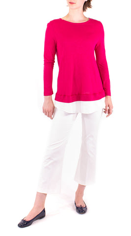 Linen Accented Top - Raspberry