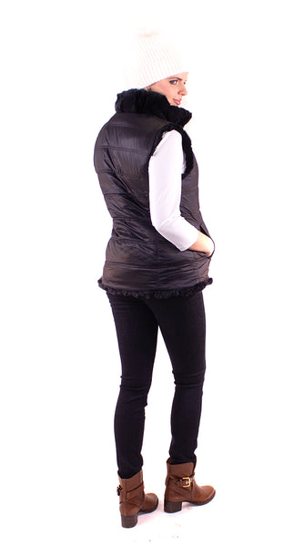 Linda Richards - Reversible Rex Rabbit Vest - Black