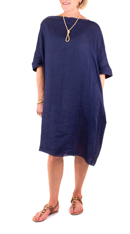 Loose Linen Dress - Washy Blue