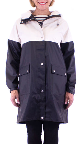 Color Blocked Raincoat - Dark Indigo / Cream