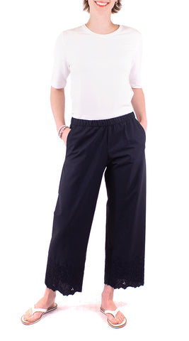 Embroidered Pants - Navy