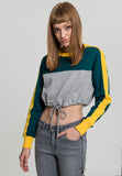 Ladies Cropped 3-Tone Stripe Crew