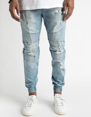 Moto Distressed Jogger Pants