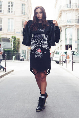 Skull Print Destroyed Dress