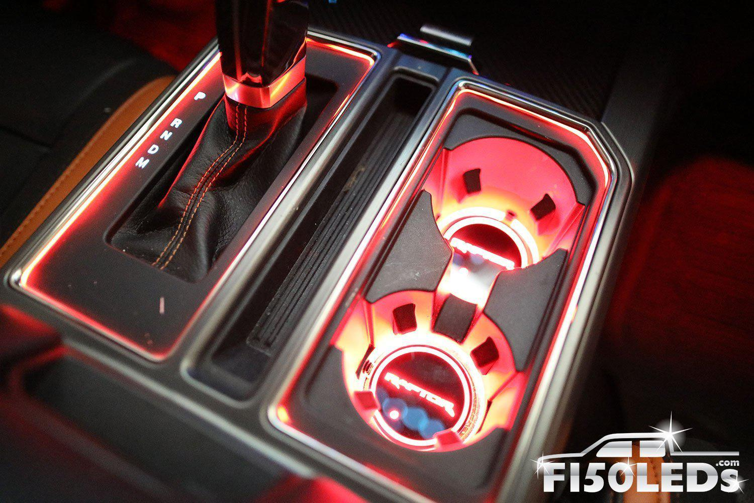 2010-14 F150 Raptor LED Cup Holder Coaster Kit-2010-14 F150 RAPTOR LEDS-F150LEDs.com