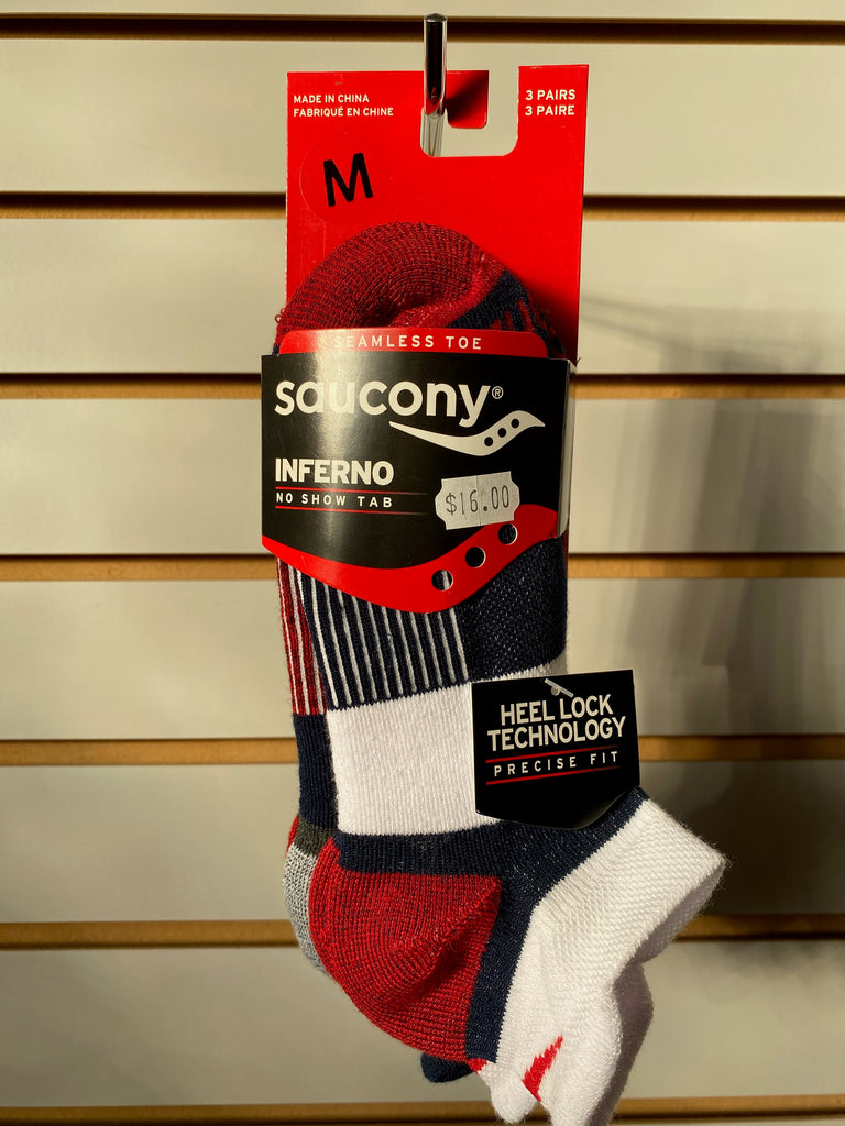 SAUCONY INFERNO NO SHOW TAB 3 PACK SOCKS