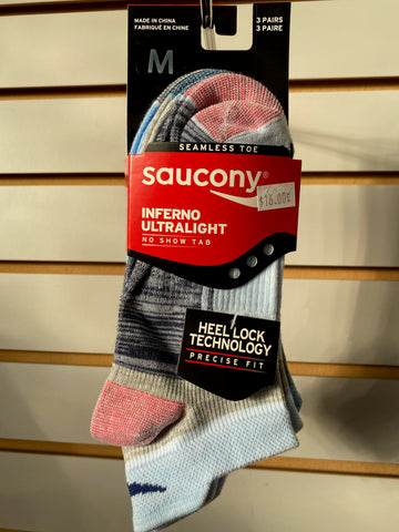 SAUCONY INFERNO ULTALIGHT NO SHOW TAB 3 PACK SOCKS