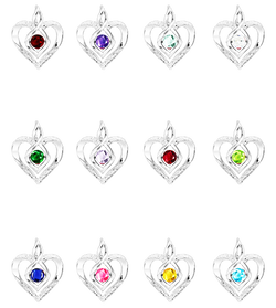 Sterling Silver Diamond & Gemstone Heart Pendant