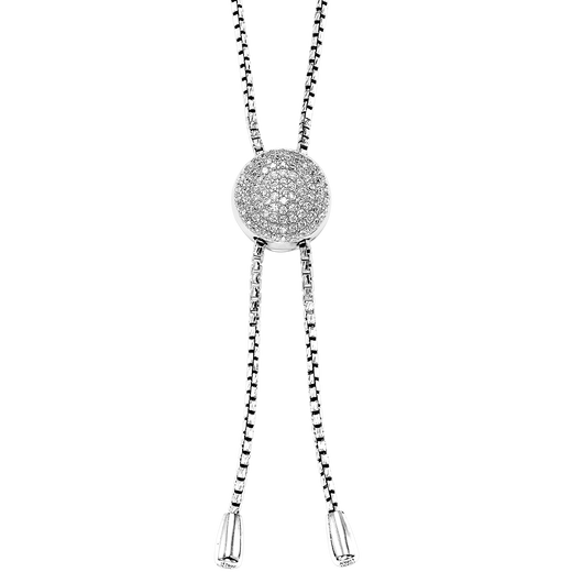 Sterling Silver Round Bolo Necklace