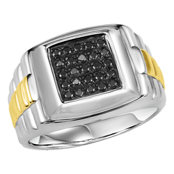 Mens Sterling Silver Black Diamond Ring 1/4 ctw