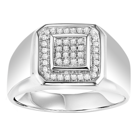 Mens Sterling Silver Diamond Ring 1/4 ctw