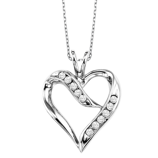 Sterling Silver Diamond Heart Pendant - FP1192