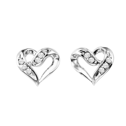 Sterling Silver Diamond Heart Earrings - FE1133