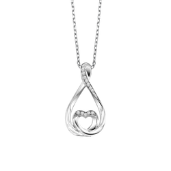 Sterling Silver Diamond Pendant - LOV1004