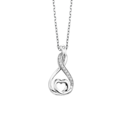 Sterling Silver Diamond Pendant - LOV1005