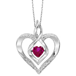 Rhythm of Love Silver diamond and created Ruby Pendant