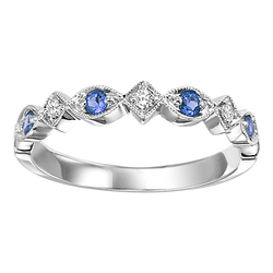 Mixable ring in choice of Gemstone & 10K or 14K White Gold