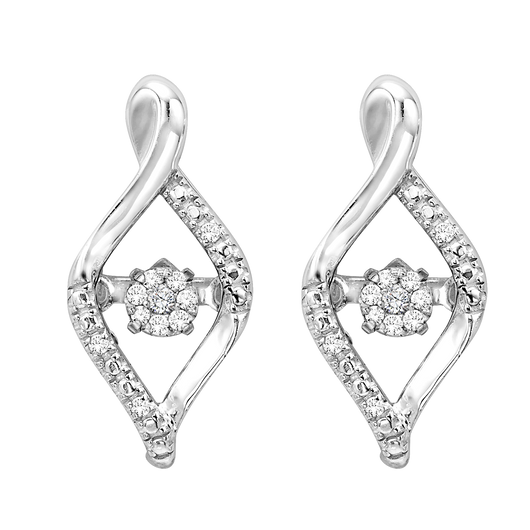 Sterling Silver Diamond ROL Earrings