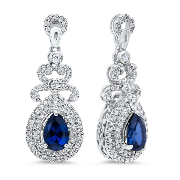 Silver created sapphire earrings