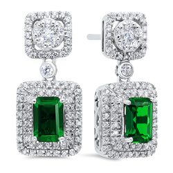 Silver Created Emerald Earrings