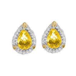 Silver with Pear Citrine Earrings
