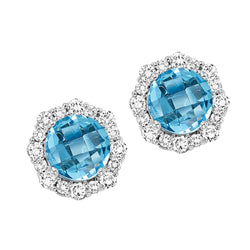 Silver with round Blue Topaz and Diamond Earrings