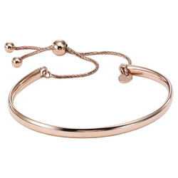 Silver Bolo Style Bangle Bracelet with Rose gold overlay