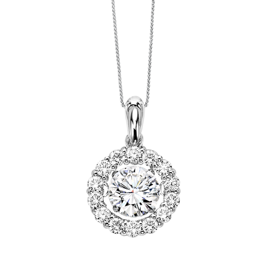 14K Diamond ROL Halo Pendant