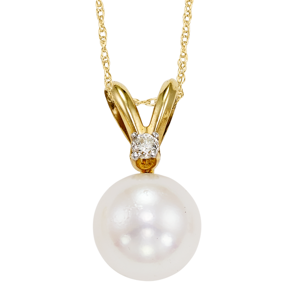 14K YG AAA Pearl with diamond pendant