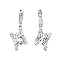 TwoGether Silver Diamond Two Stone Earrings 1/2ctw