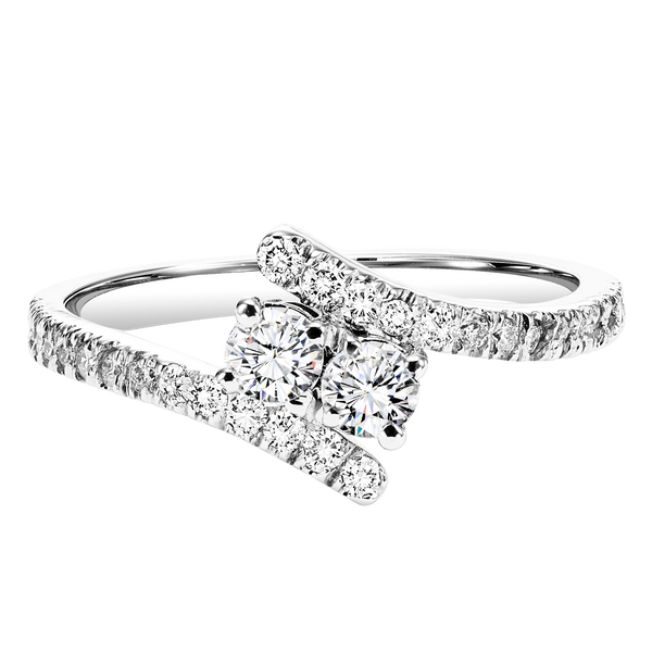 TwoGether Silver Diamond Two Stone Ring 1/4 ctw