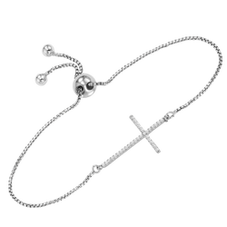 Sterling Silver Diamond Cross Bolo Bracelet 1/7 ctw