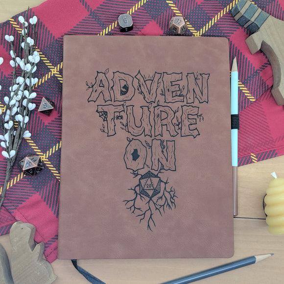 Adventure On - Vegan Leather Journal, Large