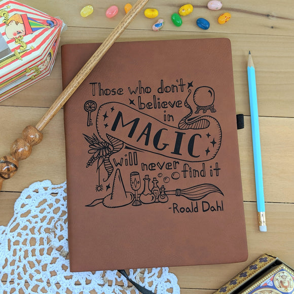 Believe in Magic - Vegan Leather Journal, Large