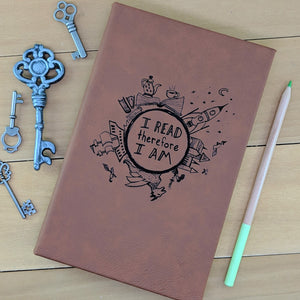 I Read Therefore I Am - Vegan Leather Journal, Small