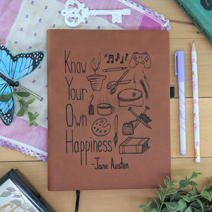 Know Happiness - Vegan Leather Journal, Large