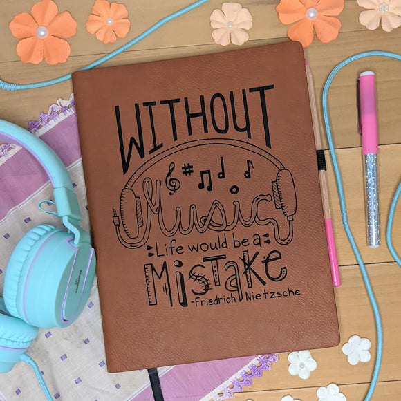 Music Mistake- Vegan Leather Journal, Large