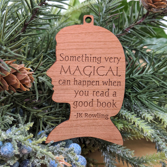 JK Rowling Wood Ornament