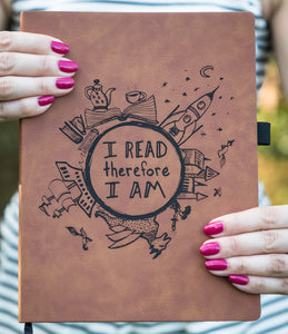 I Read Therefore I Am - Vegan Leather Journal, Large