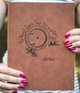 The Road Goes Ever On and On - Vegan Leather Journal, Large