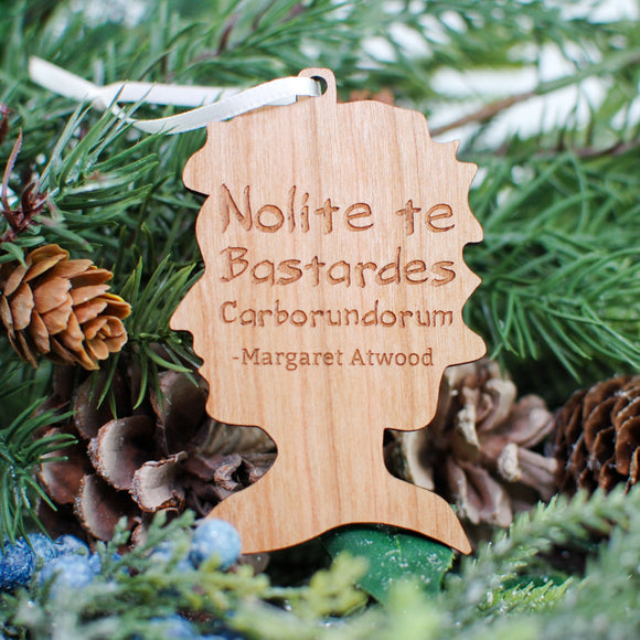 Margaret Atwood Wood Ornament