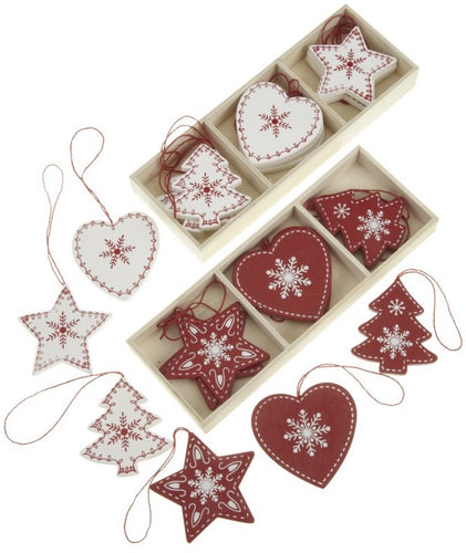 Red And White Wooden Hanging Decorations