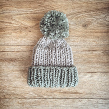 Grey and Green children's bobble hat