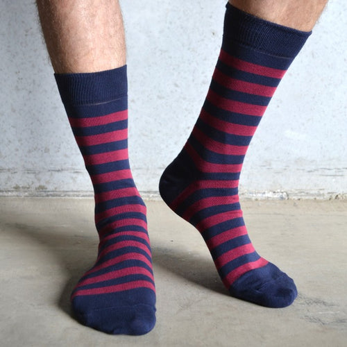 Tom Lane Burgundy and Navy Cotton Stripe socks