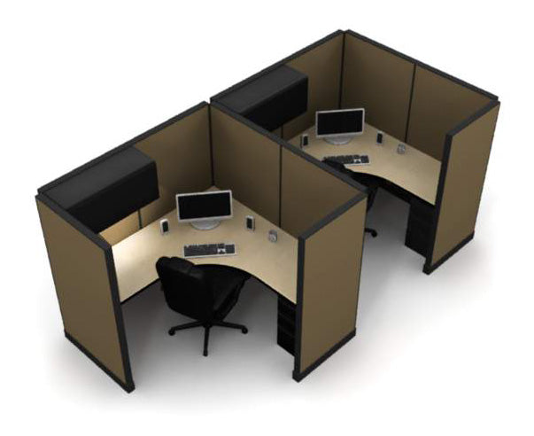 "2 Pack Private 6x6 Workstations with 65"" Panels - Online Office Furniture"