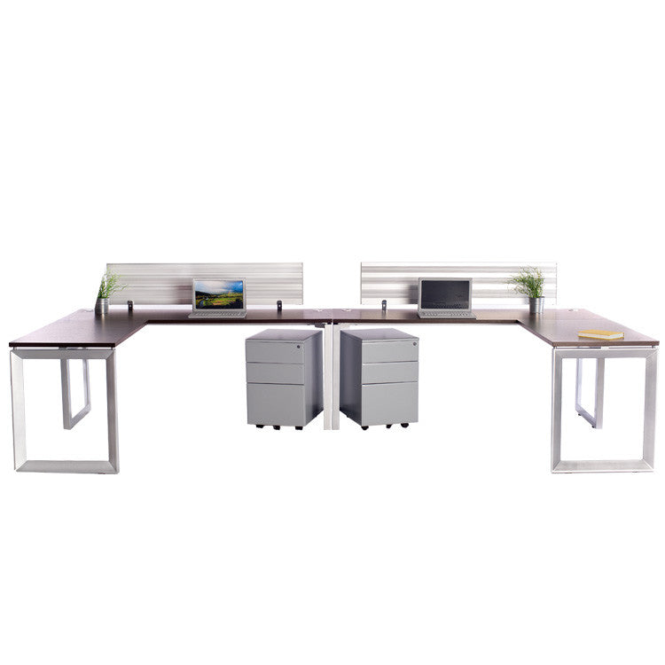 2 Pack Side by Side Options Workstations with Return and File Storage - Online Office Furniture