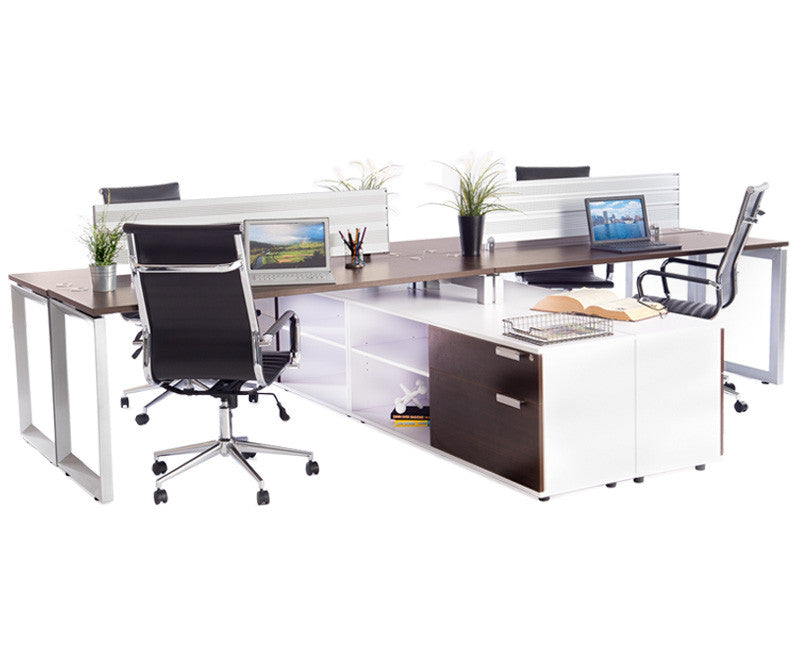 4 Pack Benching Workstation with Storage - Online Office Furniture